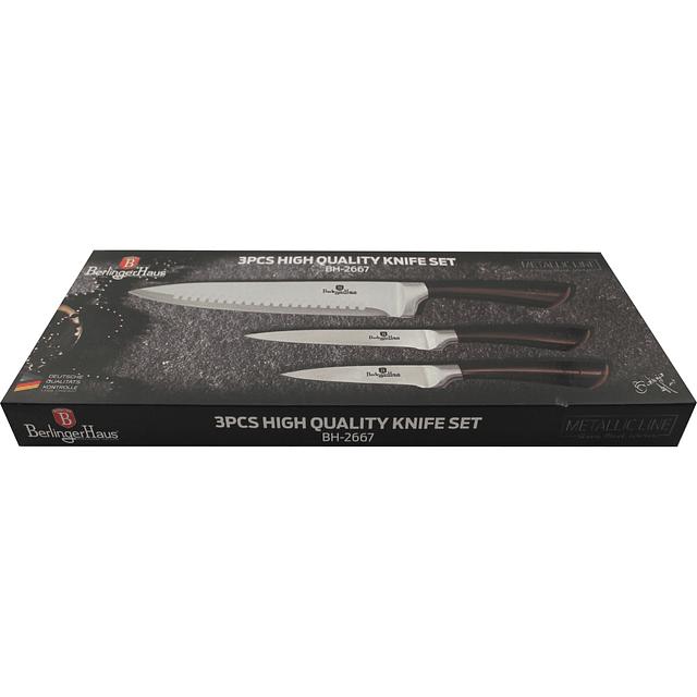 Cuchillos de Acero inoxidable SHINY BLACK ( Set 3 unidades ).