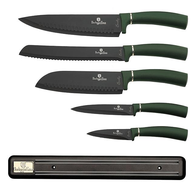 Cuchillos de Acero inoxidable EMERALD + Barra Magnética ( Set 6 unidades )