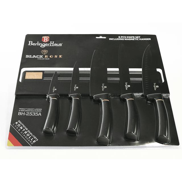 Cuchillos de Acero inoxidable BLACK ROSE  + Barra Magnética ( Set 6 unidades )