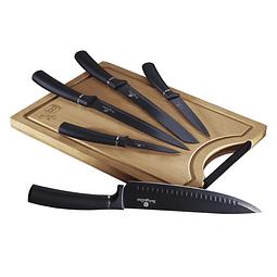 Cuchillos de Acero inoxidable BLACK SILVER + Tabla de corte de Bambú ( Set 6 unidades )