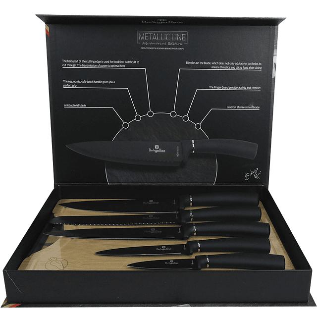 Cuchillos de Acero inoxidable AQUAMARINE + Tabla de corte de Bambú ( Set 6 unidades )