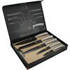 Cuchillos de Acero inoxidable MOONLIGHT + Tabla de corte de Bambú ( Set 6 unidades )