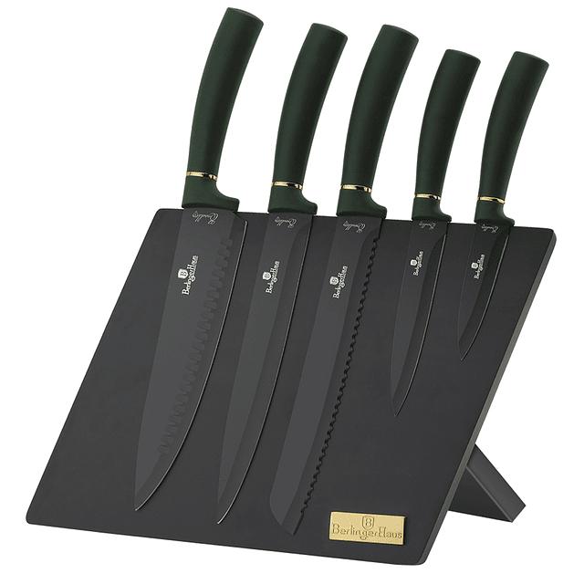 Cuchillos de Acero inoxidable EMERALD + Soporte Magnético ( Set 6 unidades )