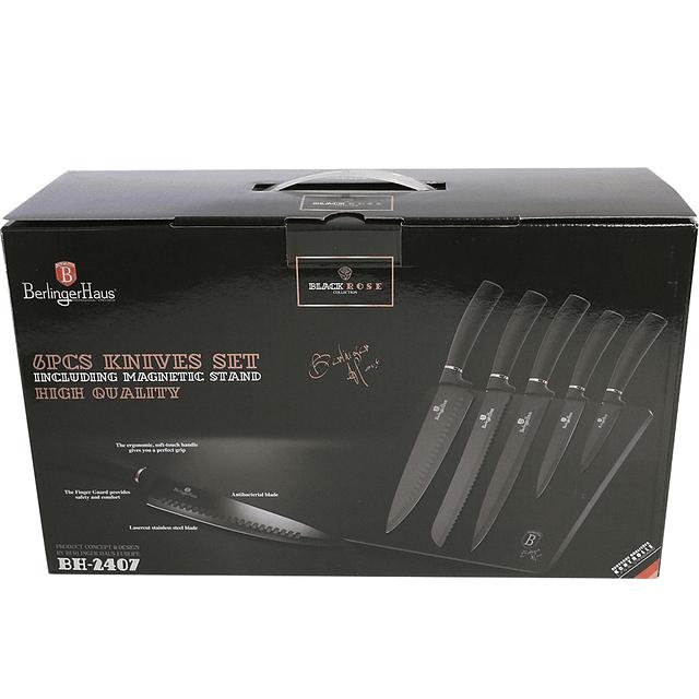 Cuchillos de Acero inoxidable BLACK ROSE + Soporte Magnético ( Set 6 unidades )