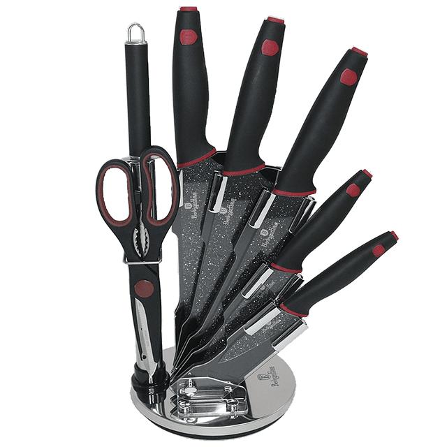Cuchillos de Acero inoxidable SHINY BLACK  + Soporte Acrílico 360° ( Set 8 unidades )
