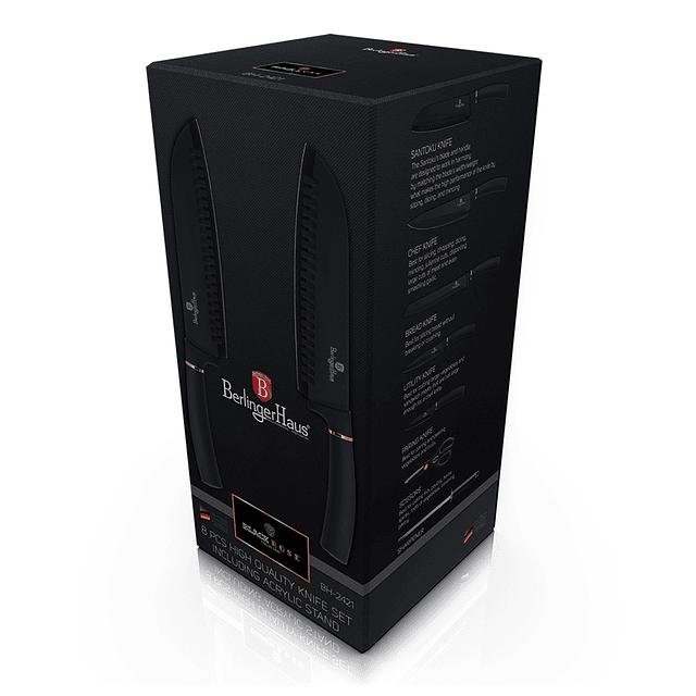 Cuchillos de Acero inoxidable BLACK ROSE  + Soporte Acrílico 360° ( Set 8 unidades )