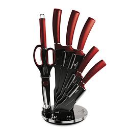 Cuchillos de Acero inoxidable BURGUNDY  + Soporte Acrílico 360° ( Set 8 unidades )