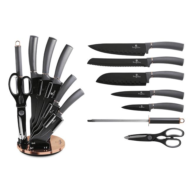 Cuchillos de Acero inoxidable MOONLIGHT  + Soporte Acrílico 360° ( Set 8 unidades )