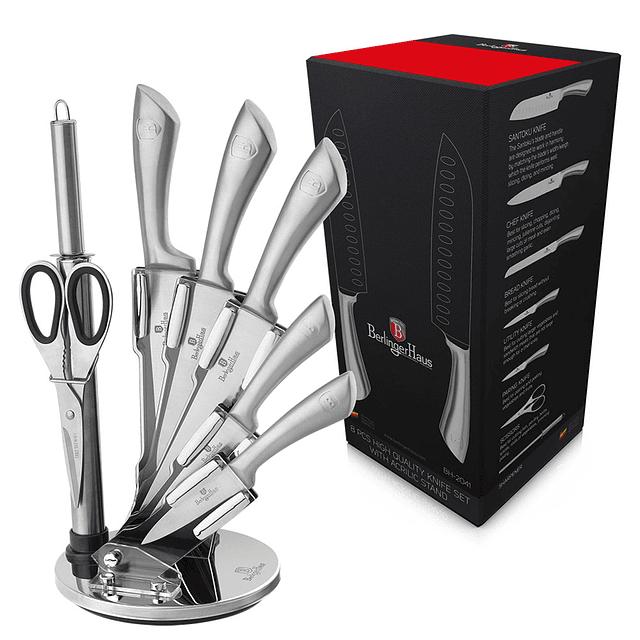 Cuchillos de Acero inoxidable SILVER INFINITY  + Soporte Acrílico 360° ( Set 8 unidades )