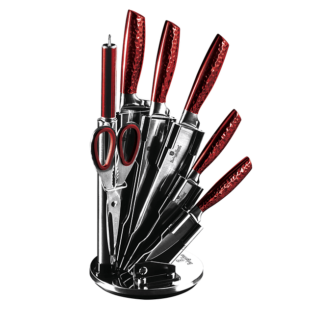 Cuchillos de Acero inoxidable SILVER BURGUNDY  + Soporte Acrílico 360° ( Set 8 unidades )