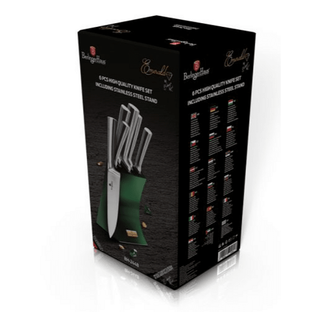 Cuchillos de Acero inoxidable SILVER EMERALD  + Soporte Fijo ( Set 6 unidades )