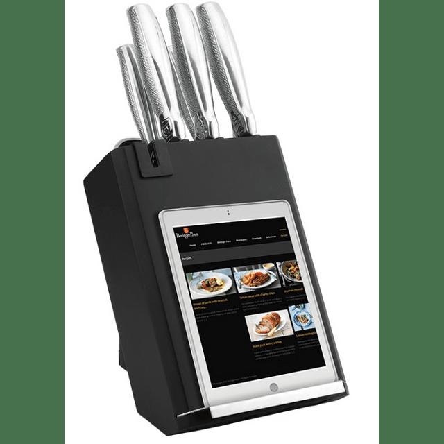 Cuchillos de Acero inoxidable BLACK SILVER + Soporte fijo ( Set 6 unidades )