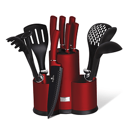 Cuchillos de Acero inoxidable BURGUNDY + Utensilios de Cocina ( Set 12 unidades )
