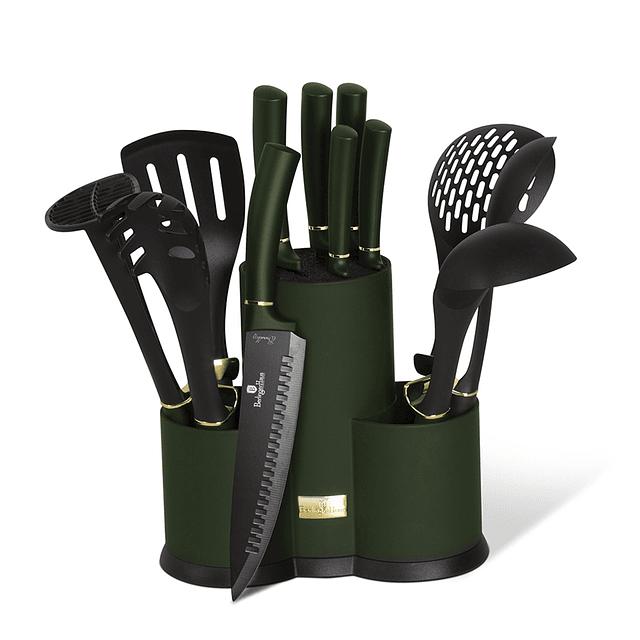 Cuchillos de Acero inoxidable EMERALD + Utensilios de Cocina ( Set 12 unidades )