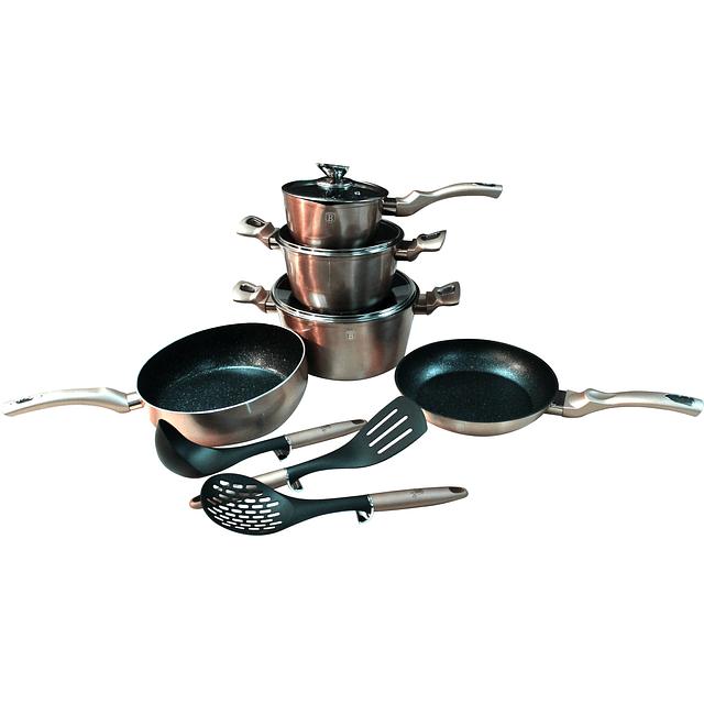 Batería de Cocina GOLD ROSE de Aluminio forjado ( Set 11 unidades )