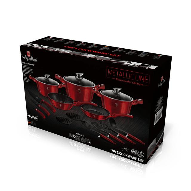 Batería de Cocina BURGUNDY de Aluminio forjado ( Set 17 unidades )