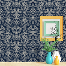PAPEL MURAL FLORAL REGULAR AZUL
