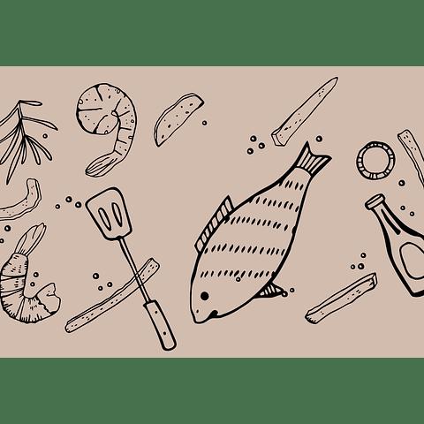 Individual de Papel Fish BBQ