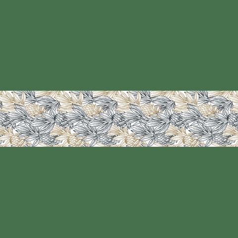 Camino de Mesa Flores Grises y beige