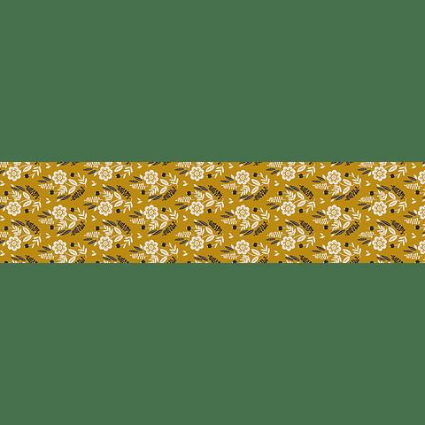 Camino de Mesa Flores Fondo Mostaza