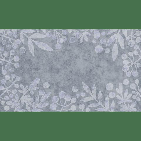 PAPEL MURAL FLORES GRISES AZULADAS
