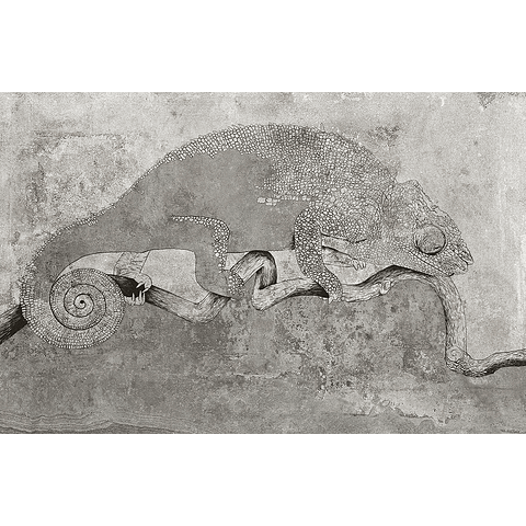 PAPEL MURAL CAMALEON GRIS