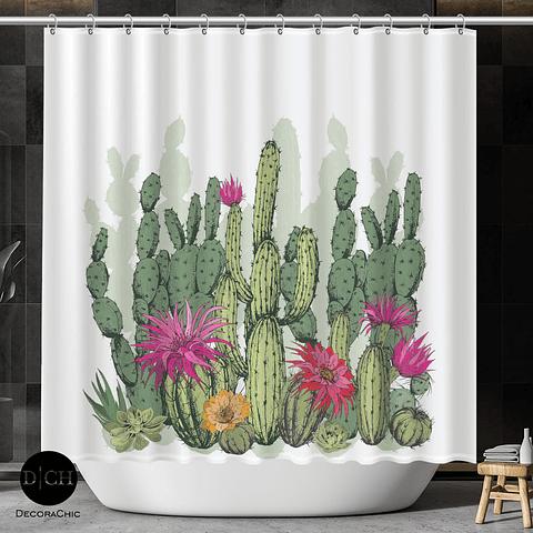 Cortina de Baño Cactus y Flores