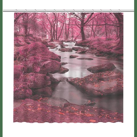 Cortina de Baño Bosque Rosado