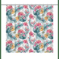 Cortina de Baño Flores Tropicales