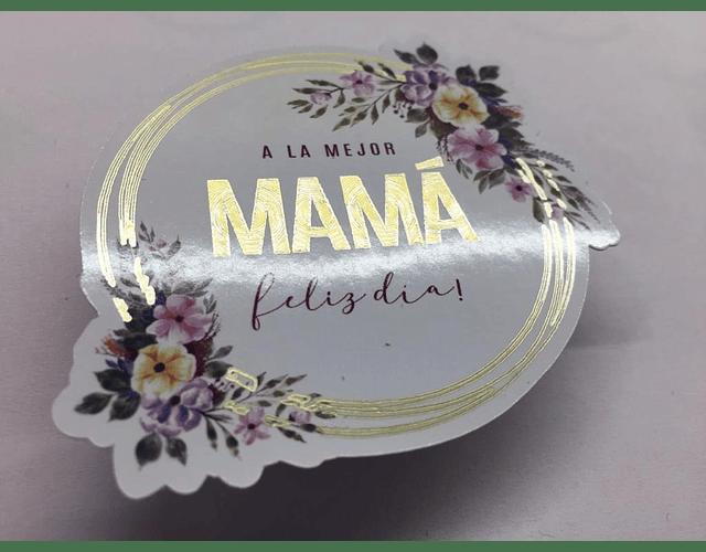 Stickers con detalles dorados 6x7cm.