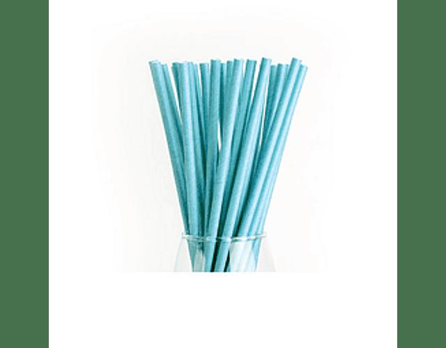 12 Bombillas de papel Celeste