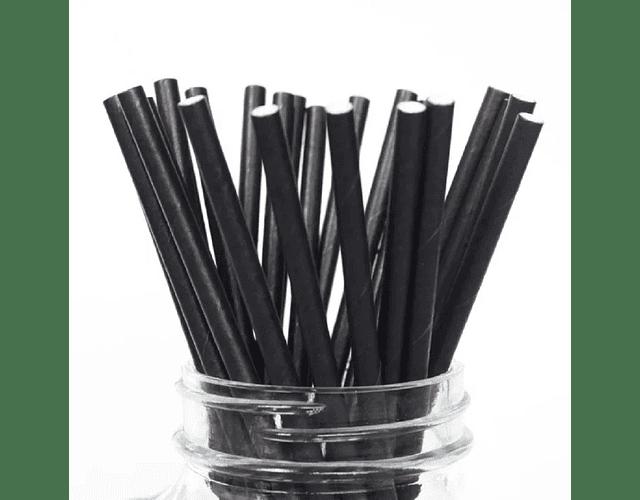 12 Bombillas de papel Negro
