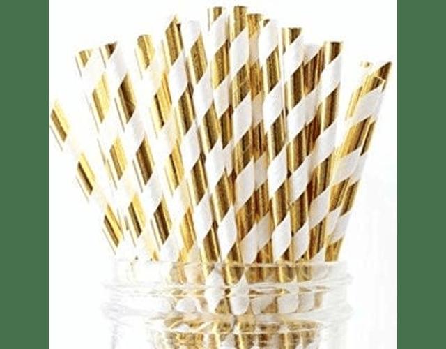 12 Bombillas de papel Chevron Gold