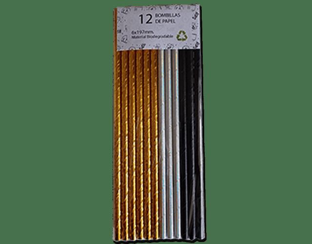 12 Bombillas de papel Mix Metal