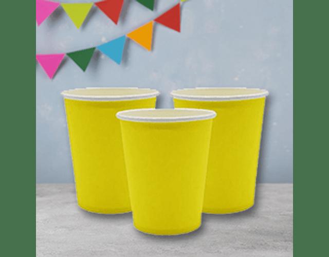 6 Vasos de Cartón Amarillo