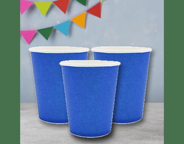 6 Vasos de Cartón Azul