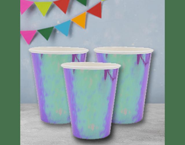 6 Vasos de Cartón Tornasol Sirena