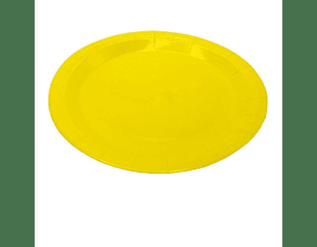 6 Platos de cartón Amarillo