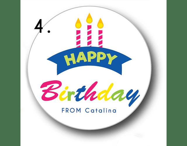 12 etiquetas adhesivas de cumpleaños DISEÑO 4