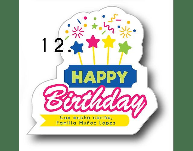 12 etiquetas adhesivas de cumpleaños DISEÑO 12