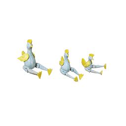 Trío de gallos sentados