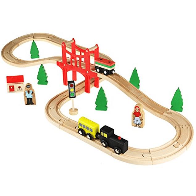 Pista de trenes de madera con puente