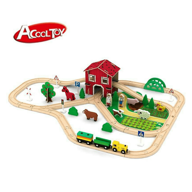 Pista de trenes de madera granja