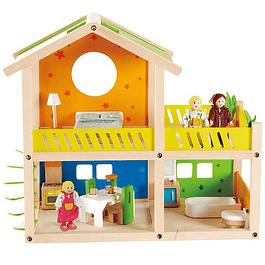 Set de casa con habitaciones y familia