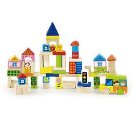 Bloques de madera ciudad, 75 piezas