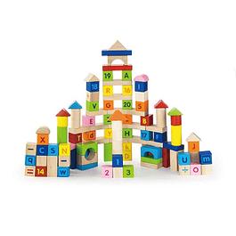 Bloques de madera números y letras, 100 piezas