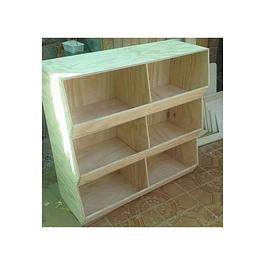 Juguetero de madera, natural 100*100*35 cm
