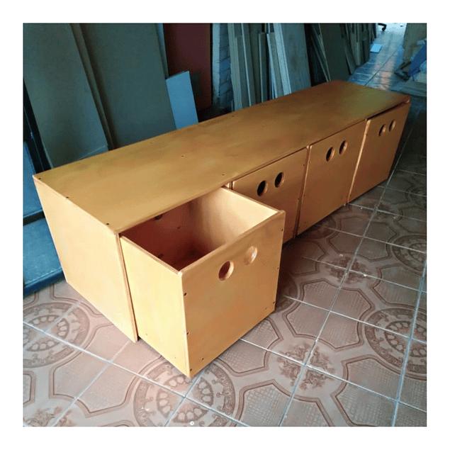 Cajonera de madera, natural 200*40*40 cm (4 cajones)