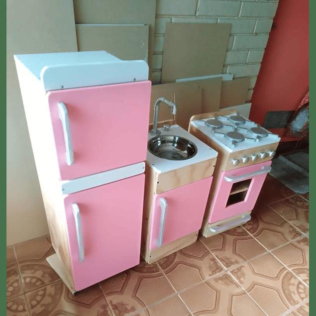 Pack cocina - lavaplatos - Refrigerador de juguete Natural-color