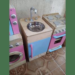 Lavaplatos de madera juguete Natural-color